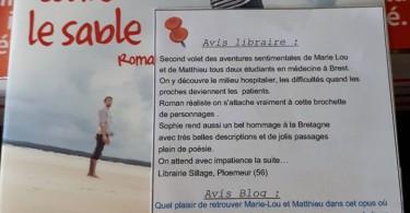 entre mes doigts coule le sable - Sophie Tal Men - Photo pour Les Petits Mots des Libraires